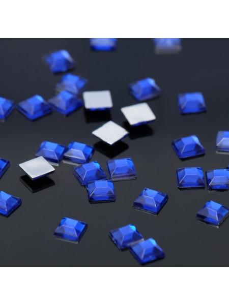 Стразы для ногтей квадрат 4мм. Blue Flare 10шт.
